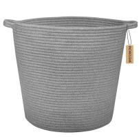 """INDRESSME Extra Large Storage Baskets Cotton Rope Basket Woven Baby Laundry Basket with Handle for Diaper Toy Cute Home Decor addition Diaper Toy 16.0""""x 15.0""""x12.6"""", Grey"""