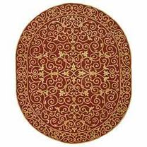 """Safavieh Chelsea Collection HK11C Hand-Hooked Burgundy Premium Wool Oval Area Rug (7'6"""" x 9'6"""" Oval)"""