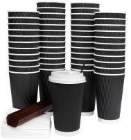 Galashield 16 Oz Disposable Coffee Cups with Lids 50 Pack Hot Paper Ripple Cup with Stirring Straws and Napkins