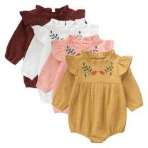 GRNSHTS Baby Girls Romper Toddler Ruffled Long Sleeve Bodysuit One Piece Flower Embroidery Outfits