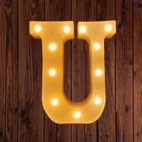 LED Marquee Number Lights Sign Light Up Marquee Letter Lights Sign for Night Light Wedding Birthday Party Battery Powered Christmas Lamp Home Bar Decoration U