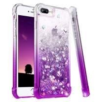 Ruky iPhone 7 Plus Case, iPhone 8 Plus Glitter Case, Gradient Quicksand Series Bling Liquid Floating TPU Bumper Cushion Women Girls Case for iPhone 6 Plus 6s Plus 7 Plus 8 Plus, Gradient Purple