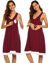 Ekouaer Night Shirt Womens Nightgown Robe Long Sleeve Nightshirt Full Length V Neck Loungewear with Zipper S-XXL