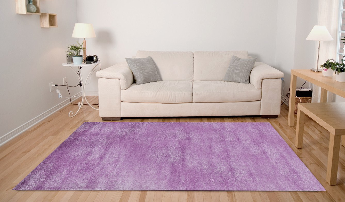 ADGO Soft Shaggy Collection Solid Vivid Color High Soft Pile Carpet Thick Plush Semi-Shiny Look Fluffy Furry Children Living Dining Room Shag Floor Rug, Pink Lavender, 8' x 10'