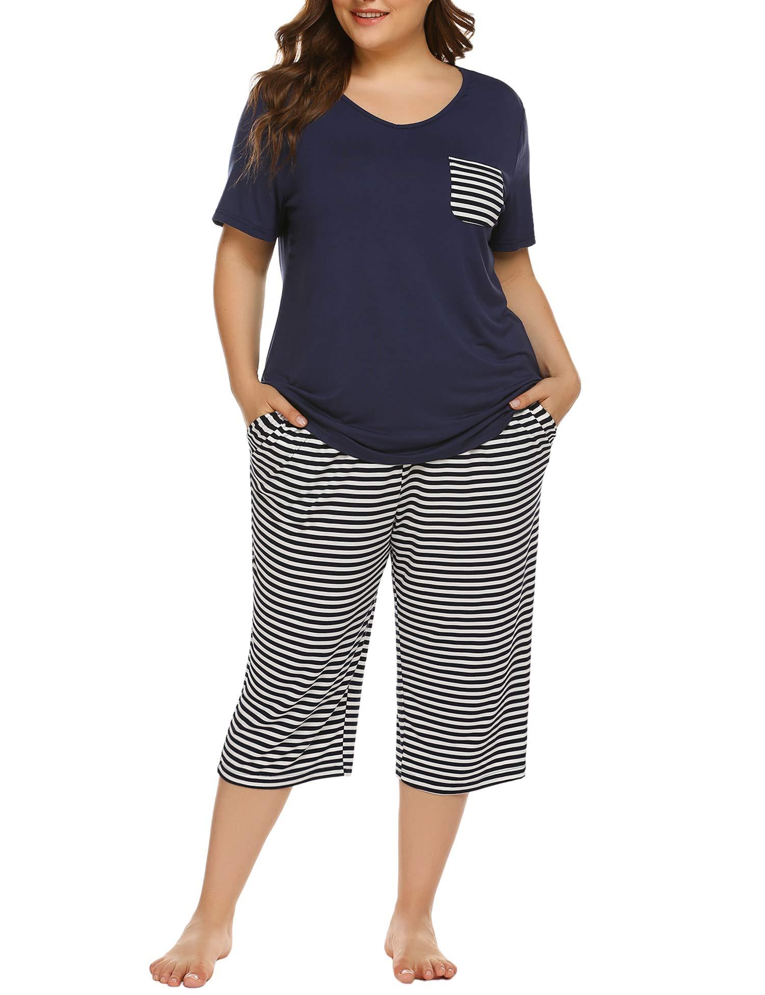 IN'VOLAND Womens Plus Size Pajama Set Capri Pants Striped Short Sleeve Pj Sets Sleepwear Set with Pockets