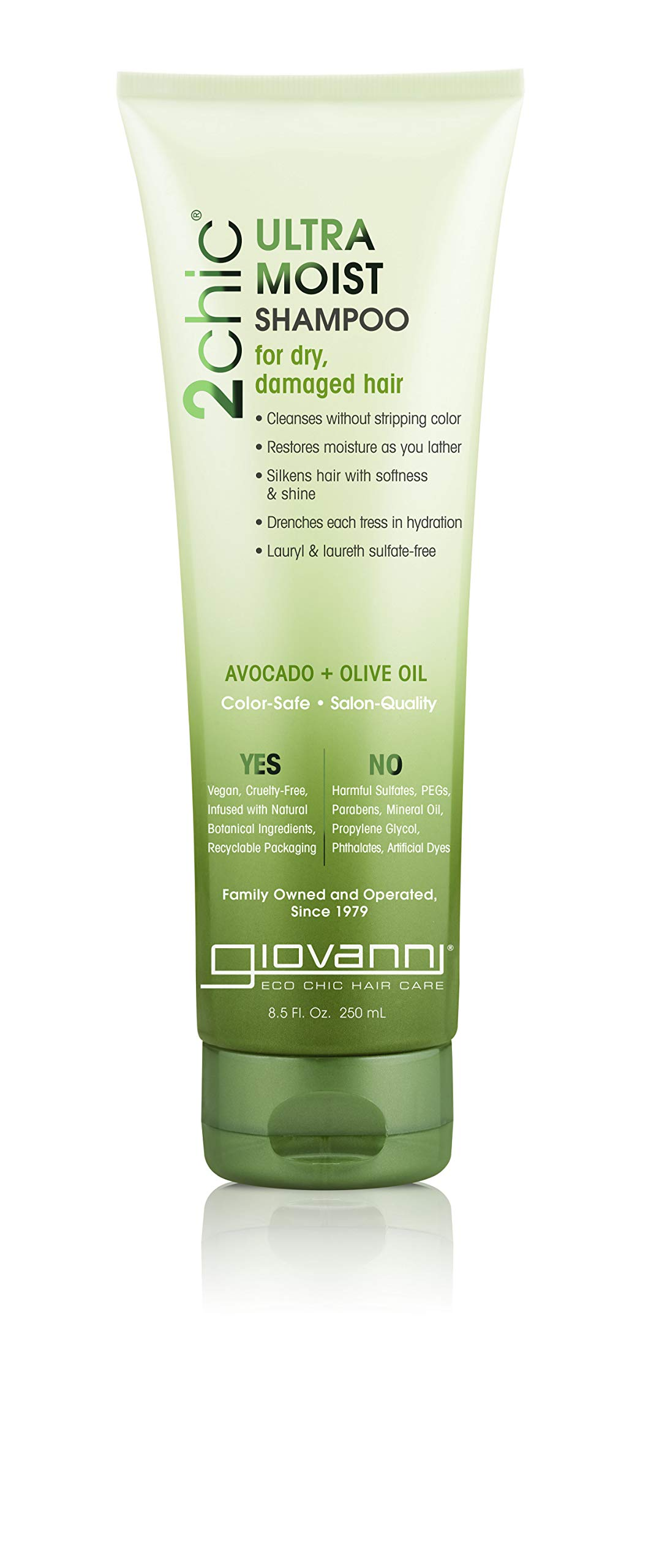 Giovanni Creamy Avocado & Olive Oil Shampoo, Hydration Powered by Aloe Vera, Shea Butter, Botanical Extract & Oils, Sulfate Free, Color Safe, 8.5 oz. (Pack of 1)