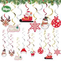 AERZETIX Merry Christmas Decorations - 30 Pieces Christmas Swirls Streamers Sign Perfect for Home Office Indoor Christmas Holiday Party Decoration