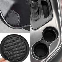 Auovo Non-Slip Anti-dust Interior Custom Fit Cup Door Center Console Liner Accessories for 2015 2016 2017 2018 2019 2020 Dodge Challenger 11pcs (Black)