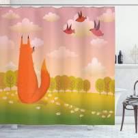 "Ambesonne Cartoon Shower Curtain, Animal Fox Wildlife in Valley Farm Sunset with Birds Flower Daisies Artwork, Cloth Fabric Bathroom Decor Set with Hooks, 70"" Long, Orange Lilac"