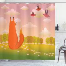 "Ambesonne Cartoon Shower Curtain, Animal Fox Wildlife in Valley Farm Sunset with Birds Flower Daisies Artwork, Cloth Fabric Bathroom Decor Set with Hooks, 70"" Long, Orange Lilac"
