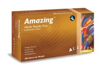 Aurelia Amazing 92885-3000 Nitrile Glove, Exam, Powder Free, 2.0 Mil Thick, X-Small, Violet Color (10 Boxes of 300 Gloves)