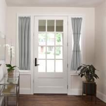 """H.VERSAILTEX Linen French Door Curtains Privacy Light Reducing Door Curtain with Tieback   Rod Pocket Curtain 1 Panel for Glass Door Feature Open Weave Textured Linen - 25""""x72"""" - Grey"""