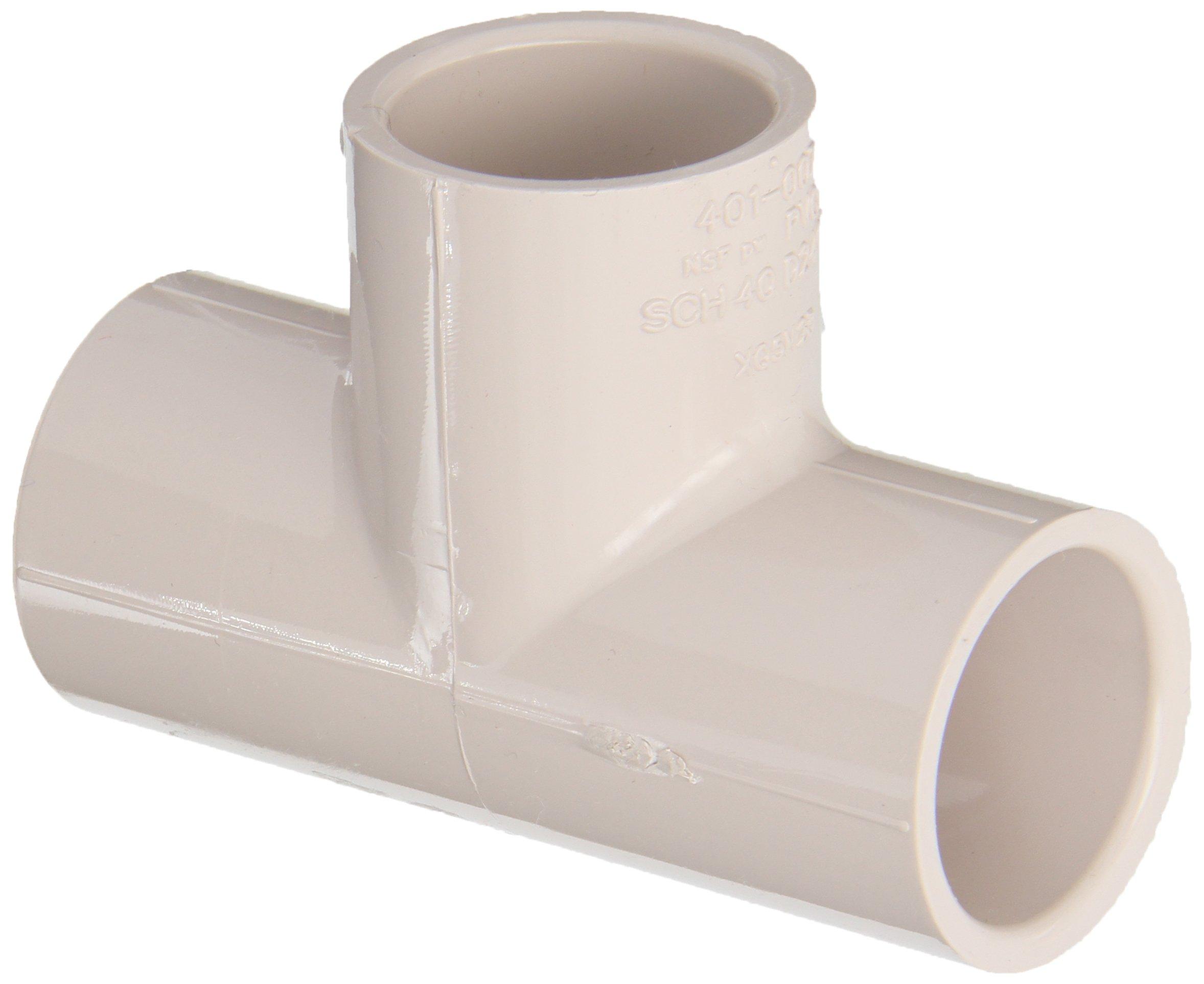 """Spears 401-UV Series PVC Pipe Fitting, UltraViolet Resistant, Tee, Schedule 40, 3/4"""" Socket"""