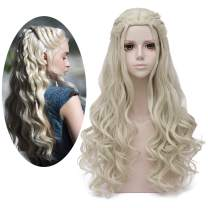 Mersi Daenerys Targaryen Wig Khaleesi Cosplay Wigs Long Blonde Braided Party Hair Wigs for Halloween (Blonde) S039G
