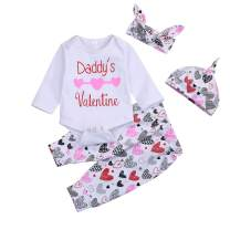YOUNGER TREE Newborn Baby Girls Summer Short Set Heart Romper Pants Set 4PCS Father's Day Clothes Outfits