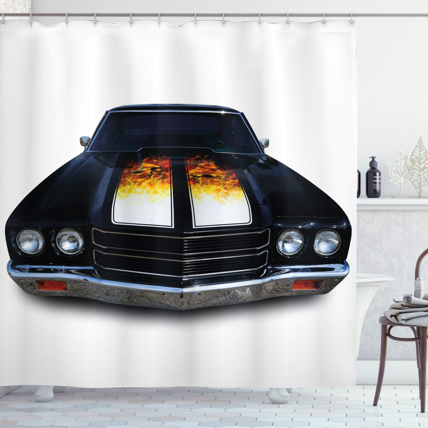"""Ambesonne Classic Shower Curtain, Vintage Retro Car with Fire Flame Print in Front Image Artwork, Cloth Fabric Bathroom Decor Set with Hooks, 70"""" Long, Vermilion Yellow"""