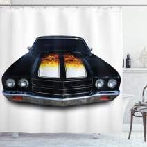 "Ambesonne Classic Shower Curtain, Vintage Retro Car with Fire Flame Print in Front Image Artwork, Cloth Fabric Bathroom Decor Set with Hooks, 70"" Long, Vermilion Yellow"