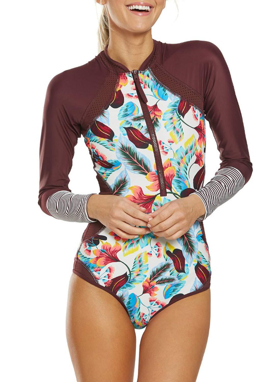 AlvaQ Women's Long Sleeve Rash Guard UV Protection Zipper Printed Surfing One Piece Swimsuit Bathing Suit