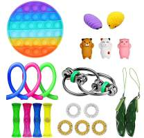 Ma.Lina.Ann Fidget Toys Set, Stress Relief Cheap Sensory Toys for Kids Adults, Simple Dimple Figetget Toys, Anti-Anxiety Tools, Fidgeting Game Kill Time (Round 21Pcs)