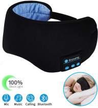 Sleep Headphones Wireless Bluetooth Eye Mask - CaseBuy Music Travel Sleep Mask Bluetooth 5.0 Wireless Handsfree Sleeping Eye Mask with Speakers Microphone for Side Sleepers Washable