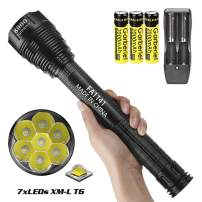HECLOUD 8000 Lumens Rechargeable Flashlight with 7 Cell XML-T6 Light, IP56 Waterproof, 5- Modes, High Power LED Torch for Camping Hiking Emergency Home Use (Included 18650 Battery and Dual Charger)