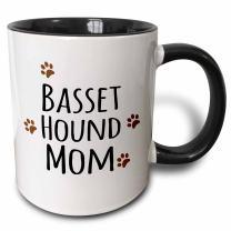 3dRose Basset Hound Dog Mom Mug, 11 oz, Black