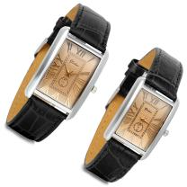 Romantic Couple Watch Set Square Watches Love for Men and Women 2 Pcs Retro Vintage Silver Tone Case Crocodile Pattern Black Leather Wristwatch for Valentine's Day