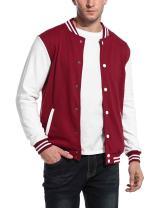 COOFANDY Mens Slim Fit Varsity Baseball Jacket Bomber Cotton Premium Jackets