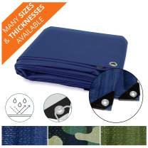 Heavy Duty Tarps | Waterproof Ground Tent Trailer Cover | Multilayered Tarpaulin in Many Sizes and Thicknesses | 15 Mil - Blue - 12' x 14'