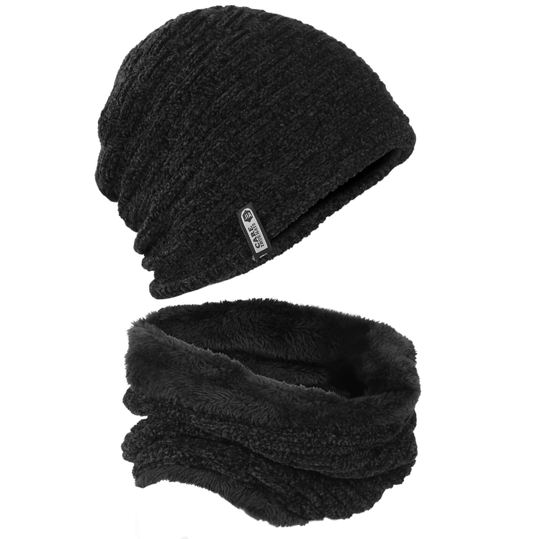 2-Piece Unisex Winter Hat Beanie Hat Scarf Set Soft Thick Hats Warm Skull Caps for Women Men