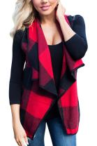 Chase Secret Womens Sleeveless Open Front Hem Plaid Vest Cardigan Jackets