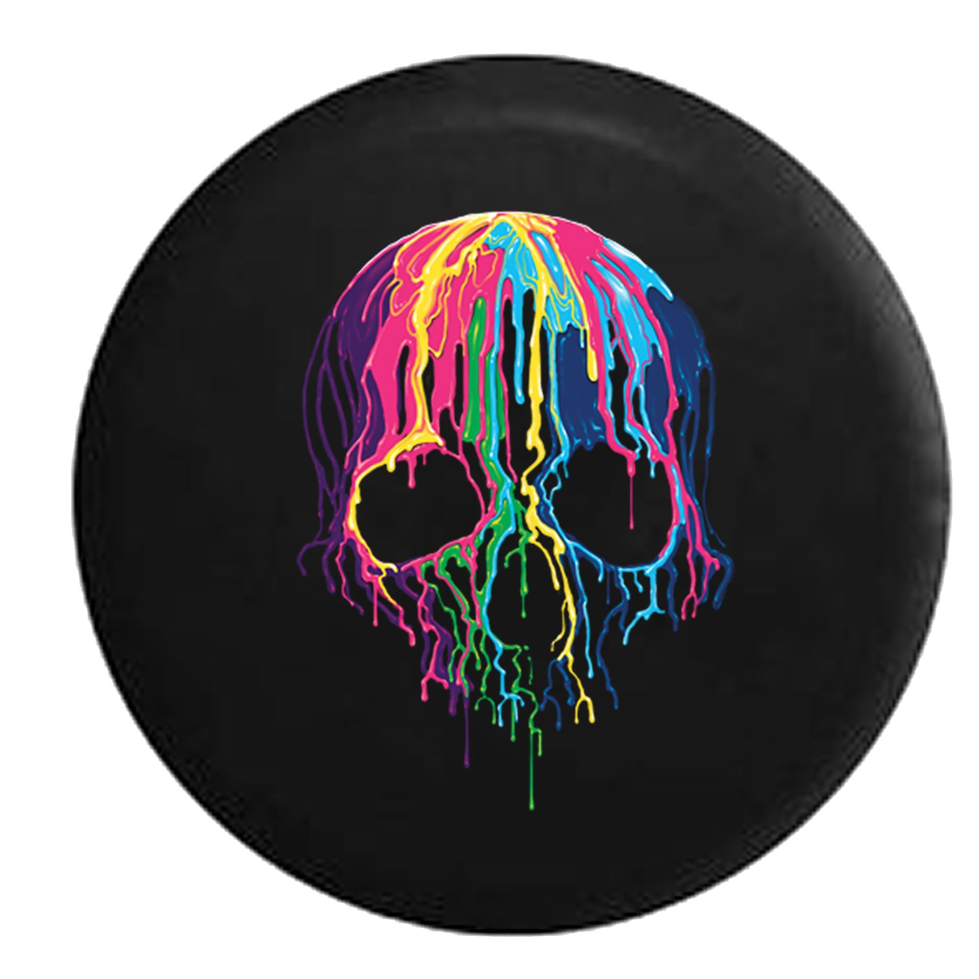 American Unlimited Melting Wax Skeleton Skull Neon Colors Spare Tire Cover (Fits: Jeep Wrangler Accessories or SUV Camper RV) Black 33 in