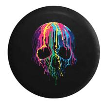 American Unlimited Melting Wax Skeleton Skull Neon Colors Spare Tire Cover (Fits: Jeep Wrangler Accessories or SUV Camper RV) Black 35 in