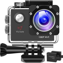 Victure AC400 1080P HD 12MP WiFi Action Camera 30M Underwater Max 170°Wide-Angle Sports Cam with 2 Rechargeable 1050mAh Batteries and Mounting Accessories Kits PC Camera Webcam