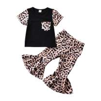 Todder Baby Girl Leopard Bell Bottoms and Short Sleeve T-Shirt Summer Clothes Set Flared Pants Outfit