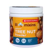 Lil Mixins Early Introduction Tree Nut Protein Powder for Infants & Babies, Stop Tree Nut Allergies Before They Start, Easily Add to Baby Food, 0g of Sugar, 4 Month Supply