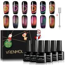 Vrenmol 6 Colors Magnetic 9D Cat Eye Chameleon UV LED Nail Gel Polish Shining Set Nail Art Kit 8ml + Free Magnet Stick …