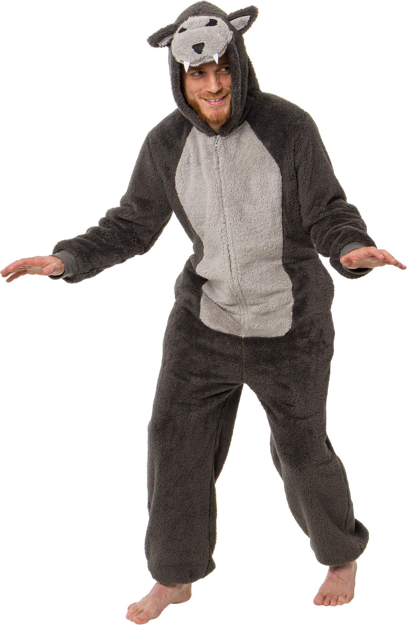 Silver Lilly Plush One Piece Werewolf Costume - Unisex Adult Halloween Animal Pajamas