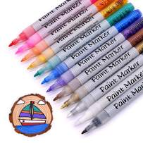 TWOHANDS Acrylic Paint Marker Pens,12 Assorted Colors, Extra-Fine Tip,Great for Rock Painting, Stone, Photo Album, DIY Craft, School Project, Glass, Ceramic, Wood, Metal