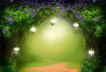 AOFOTO 7x5ft Fantasy Garden Backdrop Beautiful Flower Trees Fairy Tale Lamps Photography Background Dreamlike Forest Magic Wonderland Blurry Pathway Photo Studio Props Child Girl Portrait Wallpaper