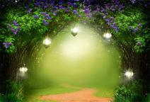 AOFOTO 8x6ft Fantasy Garden Backdrop Beautiful Flower Trees Fairy Tale Lamps Photography Background Dreamlike Forest Magic Wonderland Blurry Pathway Photo Studio Props Child Girl Portrait Wallpaper