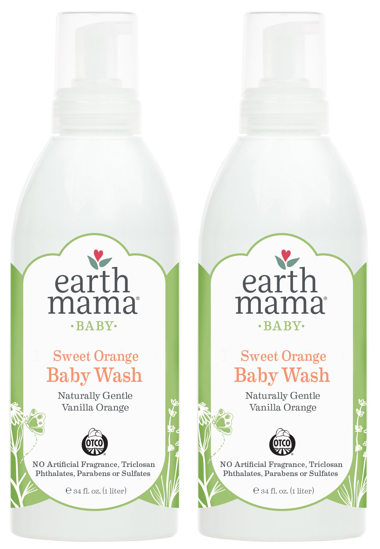 Sweet Orange Baby Wash by Earth Mama | Pure Castile Foaming Soap for Sensitive Skin, Made with Organic Shea Butter and Calendula, 34-Fluid Ounce (2-Pack)