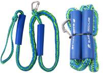 AGOOL PWC Bungee Dock Lines - 2PCS Stretchable Braided Line with Foam Float and 316 Stainless Steel Clip Heavy Duty Mooring Rope for Rubber Boats Kayaks Boats, Marine Jet ski, Pontoon