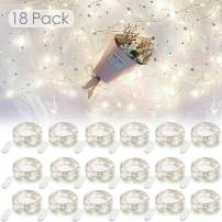 YIHONG 18 Pack Led Fairy Lights Battery Operated, 20LEDS Silver Wire String Lights, 7.2ft Starry Firefly Lights for DIY Party Wedding Indoor Decor, White