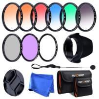 K&F Concept 52mm 9pcs UV CPL FLD Graduated Filter Lens Filter Kit UV Protector Polarizing Filter + Microfiber Cleaning Cloth + Lens Hood + Lens Cap Keeper + Filter Pouch