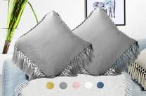 """Meaning4 Velvet Decorative Throw Pillow Cases Cushion Covers with Tassels Fringe Soft Solid Square 18""""x18"""" Pack of 2 Gray Grey for Christmas Couch Sofa Car Bed Daybed Chair"""