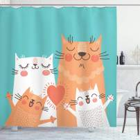 "Ambesonne Funny Shower Curtain, Kitten Couple Happy Paws Loving Heart with Family Cats Poster Style Animal, Cloth Fabric Bathroom Decor Set with Hooks, 70"" Long, Teal Orange"