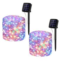 BINZET Solar Fairy Lights, 33Ft 100LEDs Waterproof Decorative Copper Wire Solar String Lights Outdoor for Party, Patio, Garden, Gate, Yard, Wedding, Christmas (RGBW 4 Color,2 Pack)
