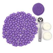 Sealing Wax Beads, Yoption 150 Pieces Heart Shape Wax Seal Beads with a Wax Melting Spoon and 2 Pieces Candles for Wax Seal Stamp (Violet)