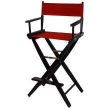 "American Trails Extra-Wide Premium 30"" Director's Chair Black Frame with Red Canvas, Bar Height"